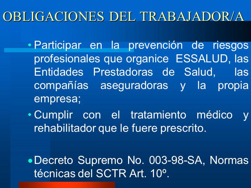OBLIGACIONES DEL TRABAJADOR/A