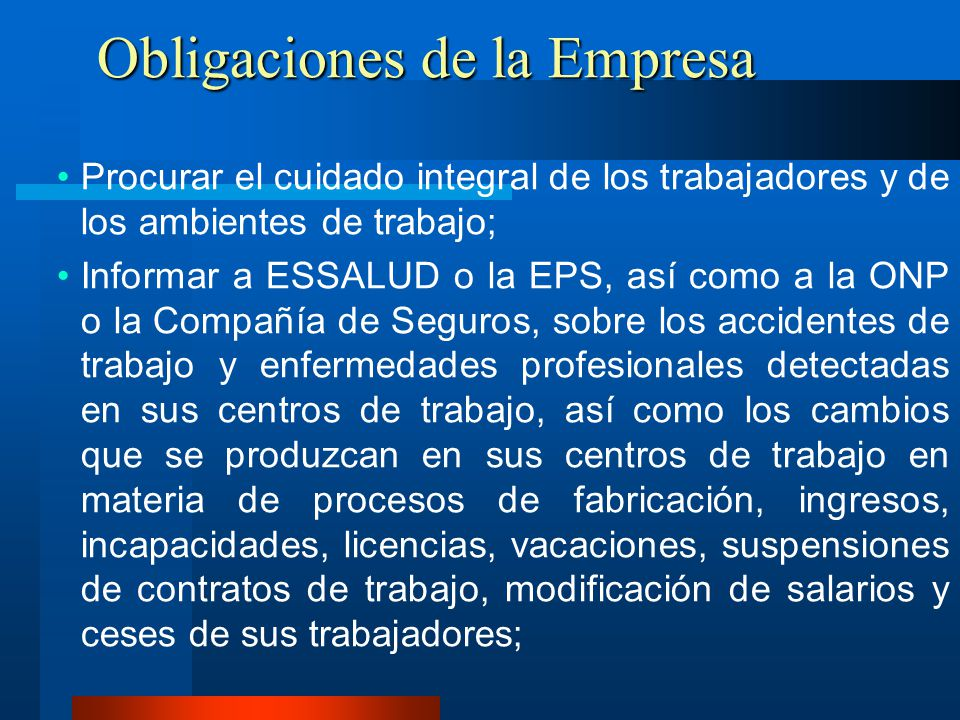 Obligaciones de la Empresa