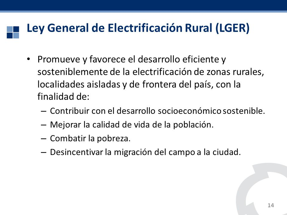 Ley General de Electrificación Rural (LGER)