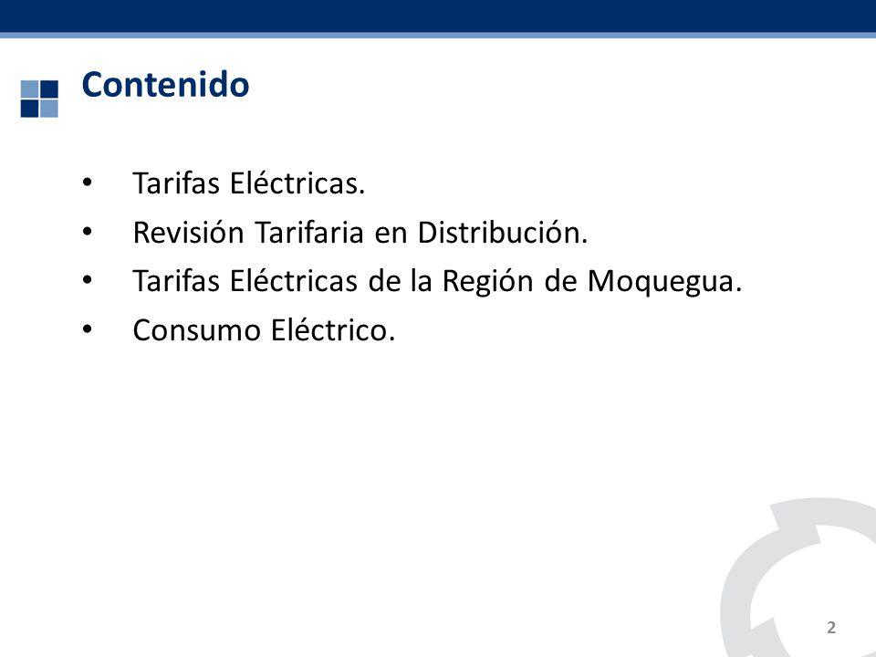 Contenido Tarifas Eléctricas. Revisión Tarifaria en Distribución.