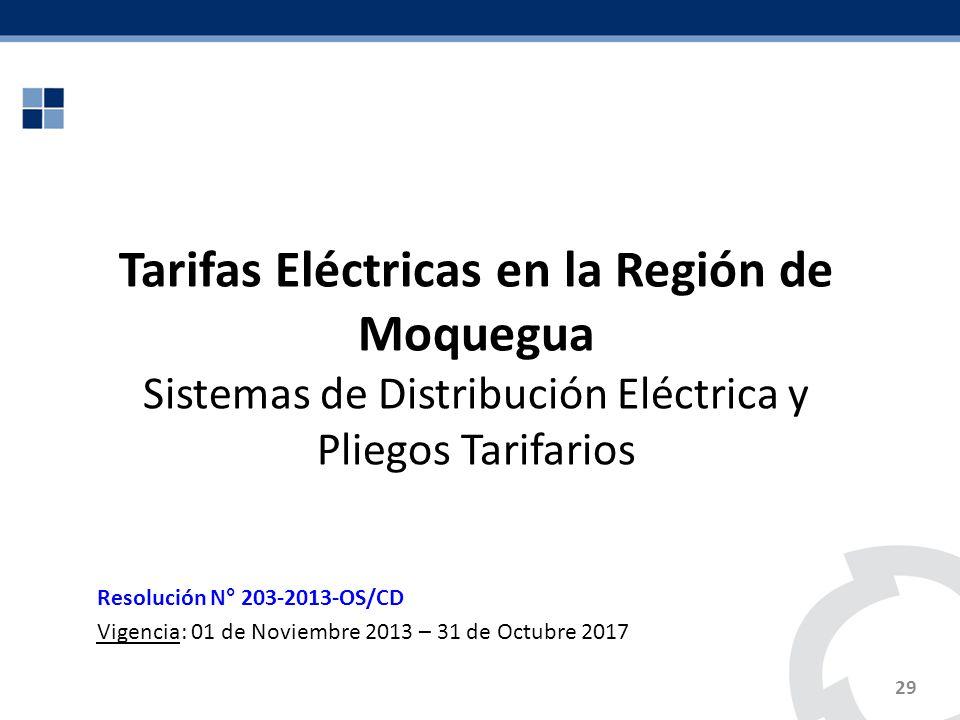 Tarifas Eléctricas en la Región de Moquegua