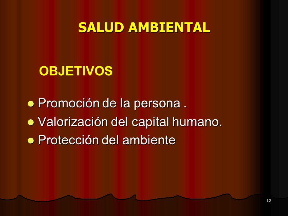 SALUD AMBIENTAL OBJETIVOS Promoción de la persona .