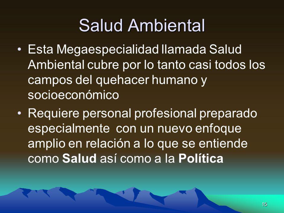 Salud Ambiental Esta Megaespecialidad llamada Salud Ambiental cubre por lo tanto casi todos los campos del quehacer humano y socioeconómico.