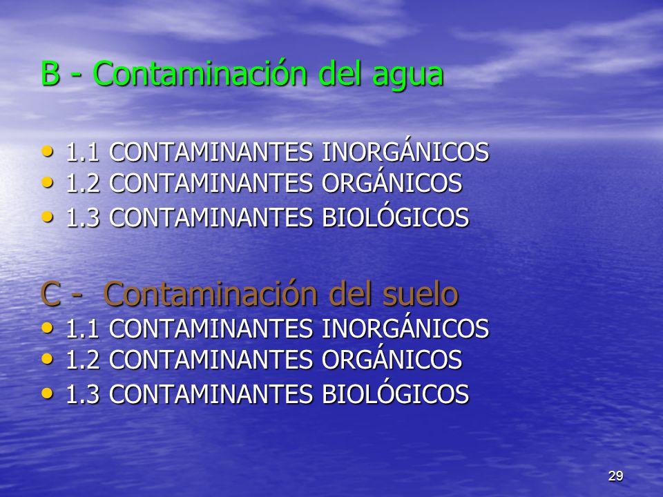 B - Contaminación del agua