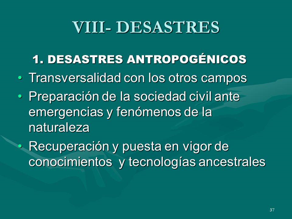 VIII- DESASTRES Transversalidad con los otros campos
