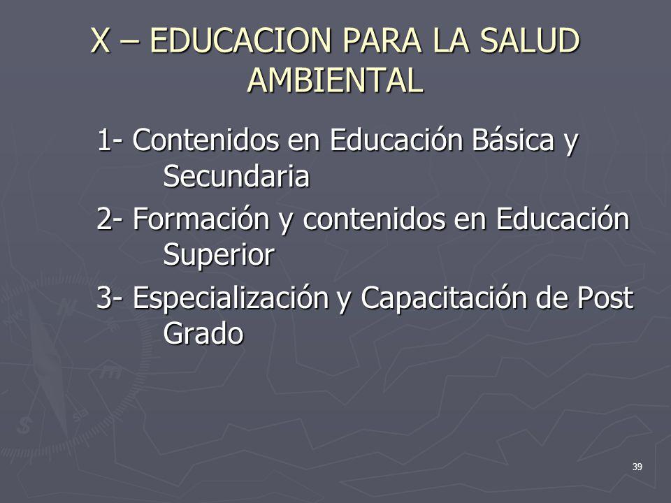 X – EDUCACION PARA LA SALUD AMBIENTAL