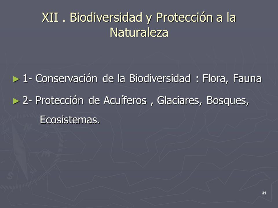 XII . Biodiversidad y Protección a la Naturaleza