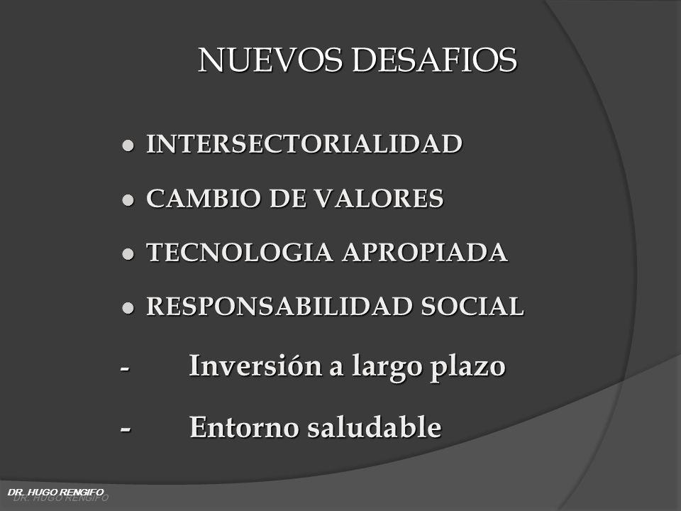 NUEVOS DESAFIOS - Entorno saludable INTERSECTORIALIDAD