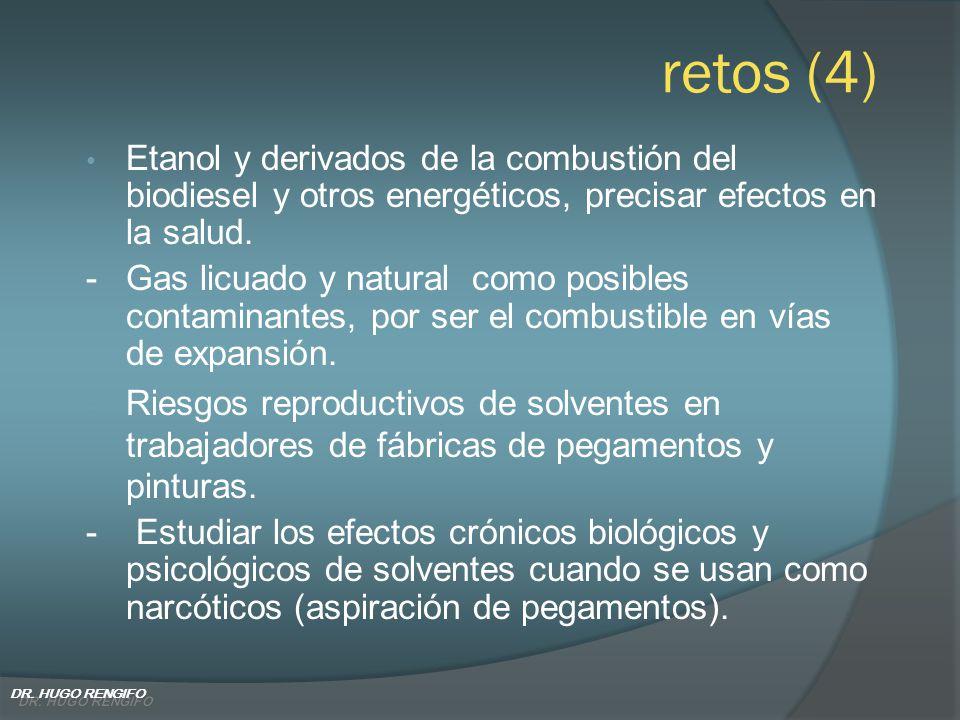 retos (4) Etanol y derivados de la combustión del biodiesel y otros energéticos, precisar efectos en la salud.