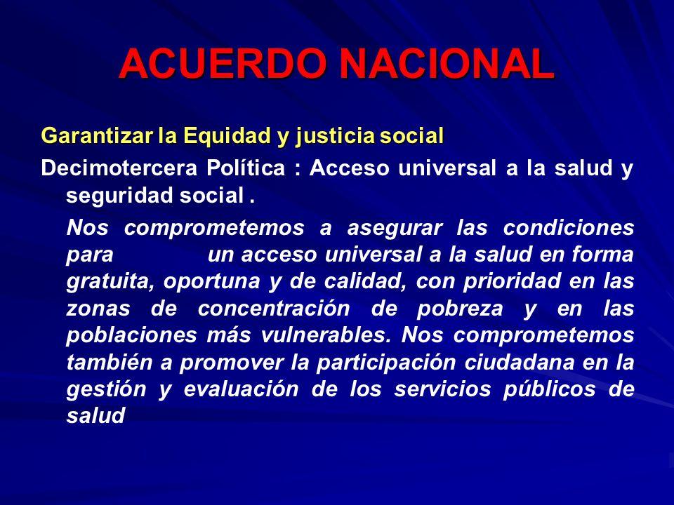 ACUERDO NACIONAL Garantizar la Equidad y justicia social
