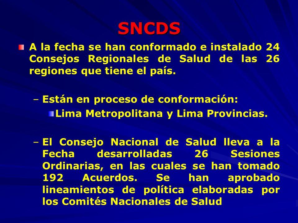 SNCDS A la fecha se han conformado e instalado 24 Consejos Regionales de Salud de las 26 regiones que tiene el país.