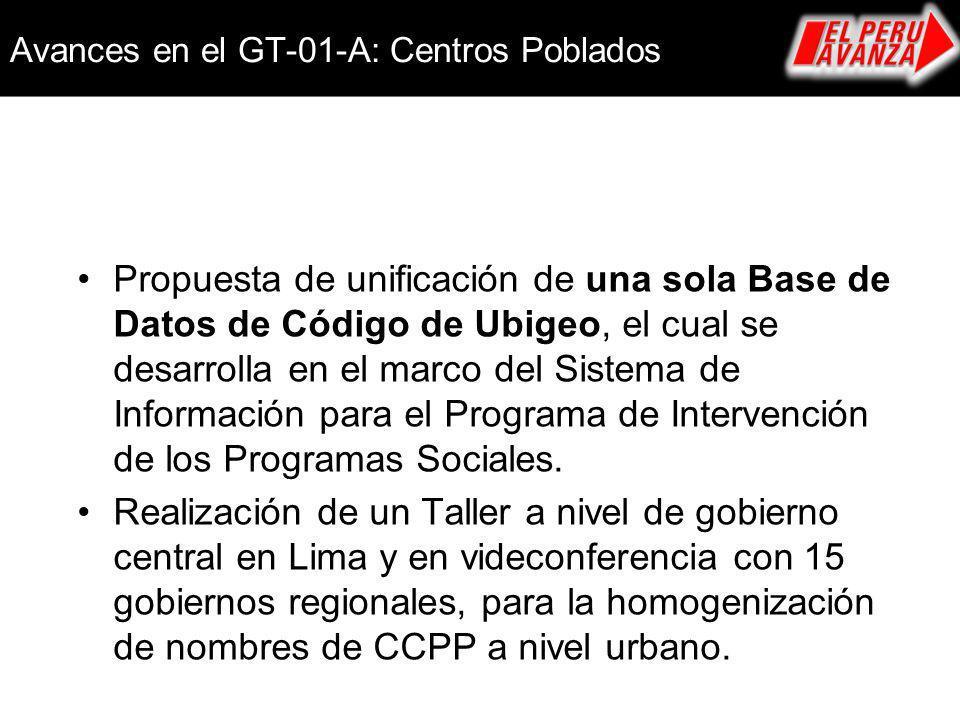 Avances en el GT-01-A: Centros Poblados