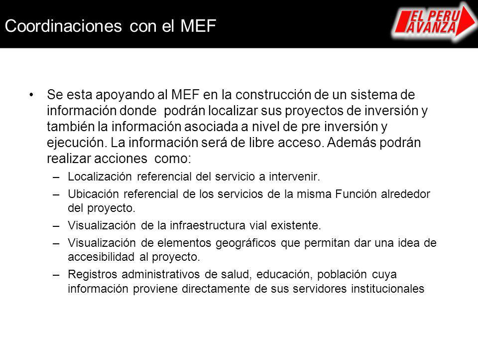 Coordinaciones con el MEF