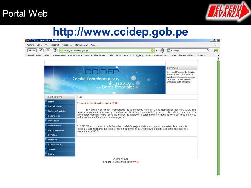 Portal Web http://www.ccidep.gob.pe