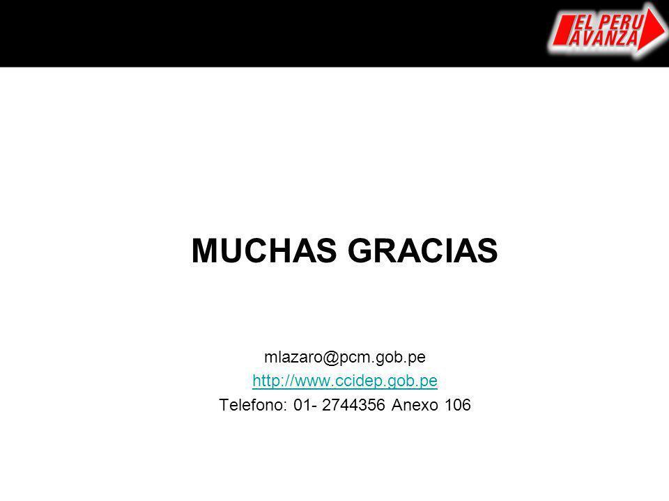 MUCHAS GRACIAS mlazaro@pcm.gob.pe http://www.ccidep.gob.pe