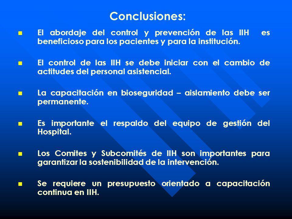 Conclusiones: El abordaje del control y prevención de las IIH es beneficioso para los pacientes y para la institución.