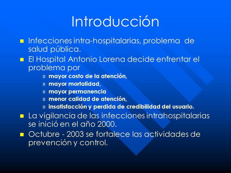Introducción Infecciones intra-hospitalarias, problema de salud pública. El Hospital Antonio Lorena decide enfrentar el problema por.