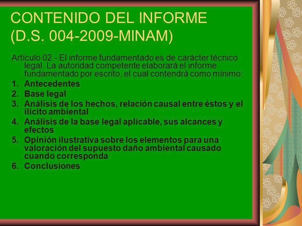 CONTENIDO DEL INFORME (D.S. 004-2009-MINAM)