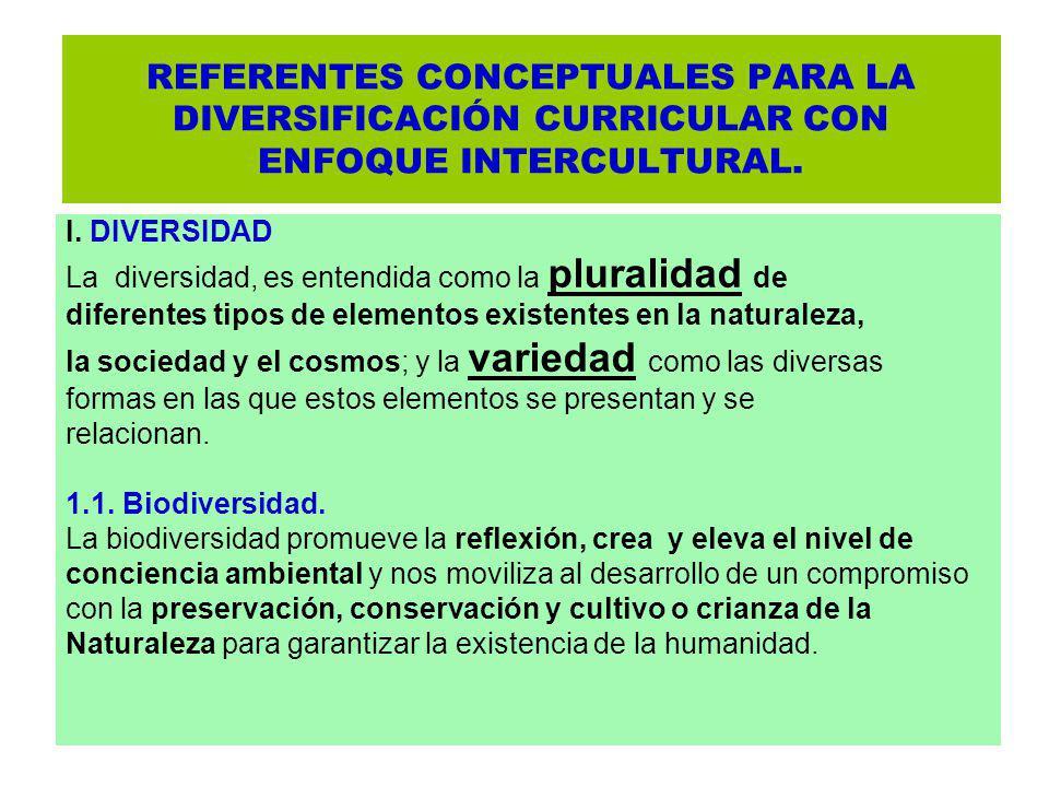 REFERENTES CONCEPTUALES PARA LA DIVERSIFICACIÓN CURRICULAR CON ENFOQUE INTERCULTURAL.