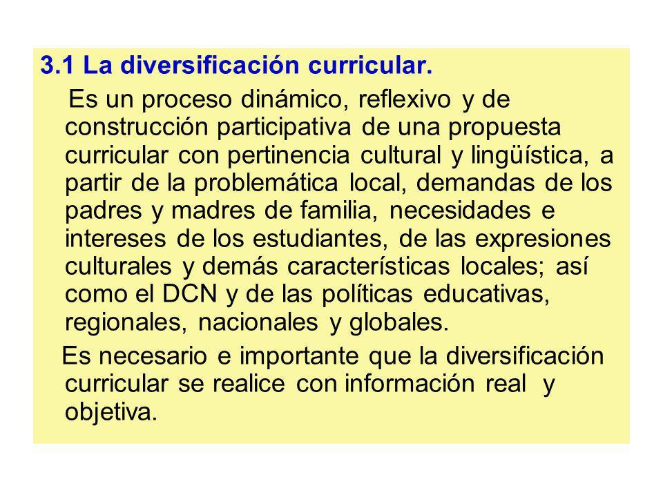 3.1 La diversificación curricular.