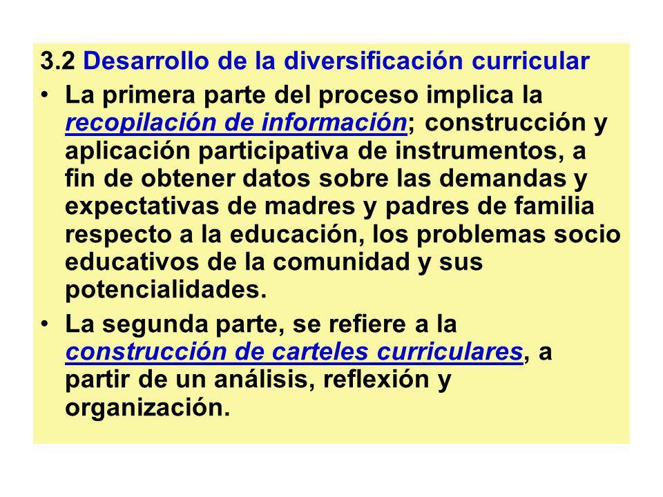 3.2 Desarrollo de la diversificación curricular
