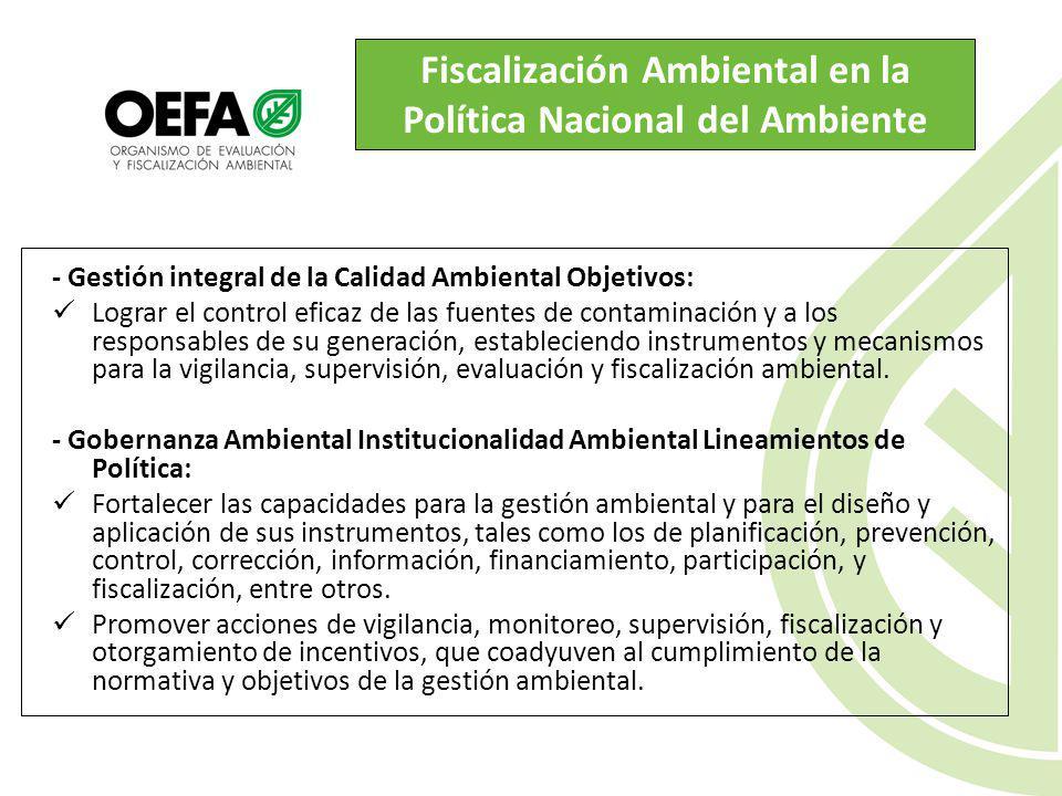Fiscalización Ambiental en la Política Nacional del Ambiente