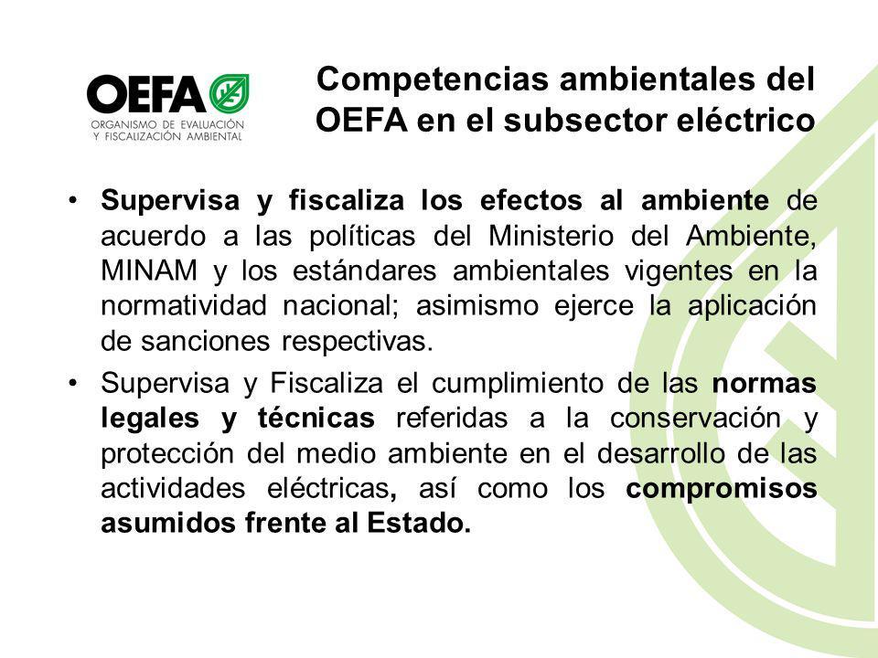 Competencias ambientales del OEFA en el subsector eléctrico