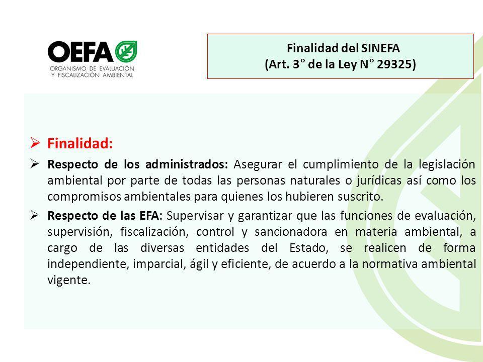 Finalidad del SINEFA (Art. 3° de la Ley N° 29325)
