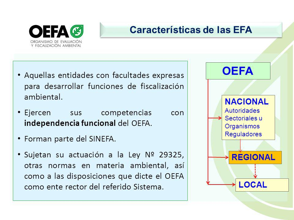 Características de las EFA