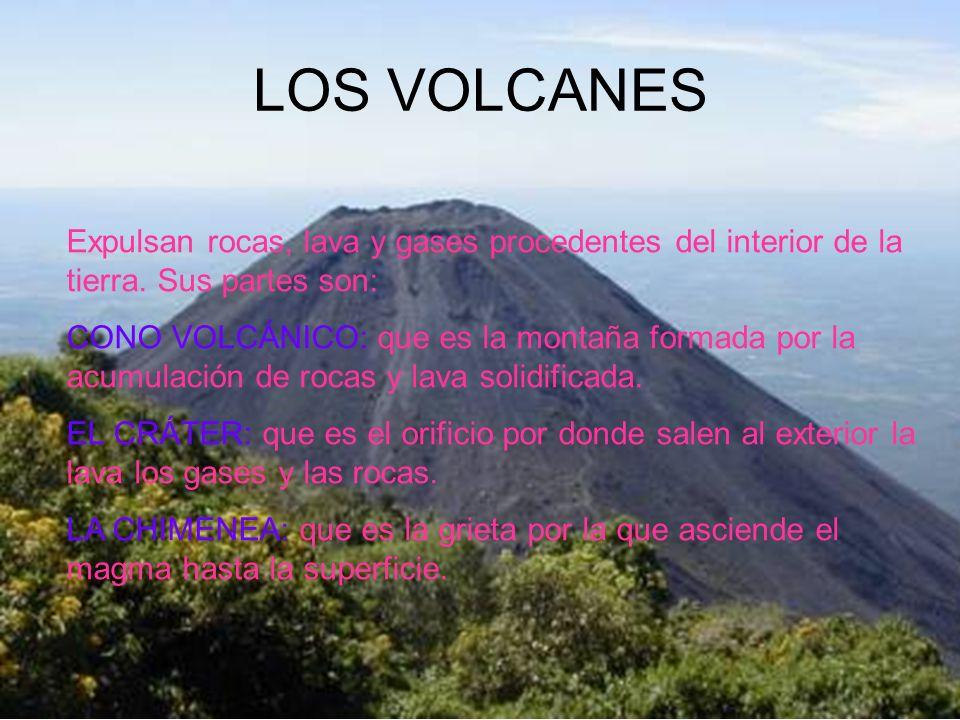 LOS VOLCANES Expulsan rocas, lava y gases procedentes del interior de la tierra. Sus partes son: