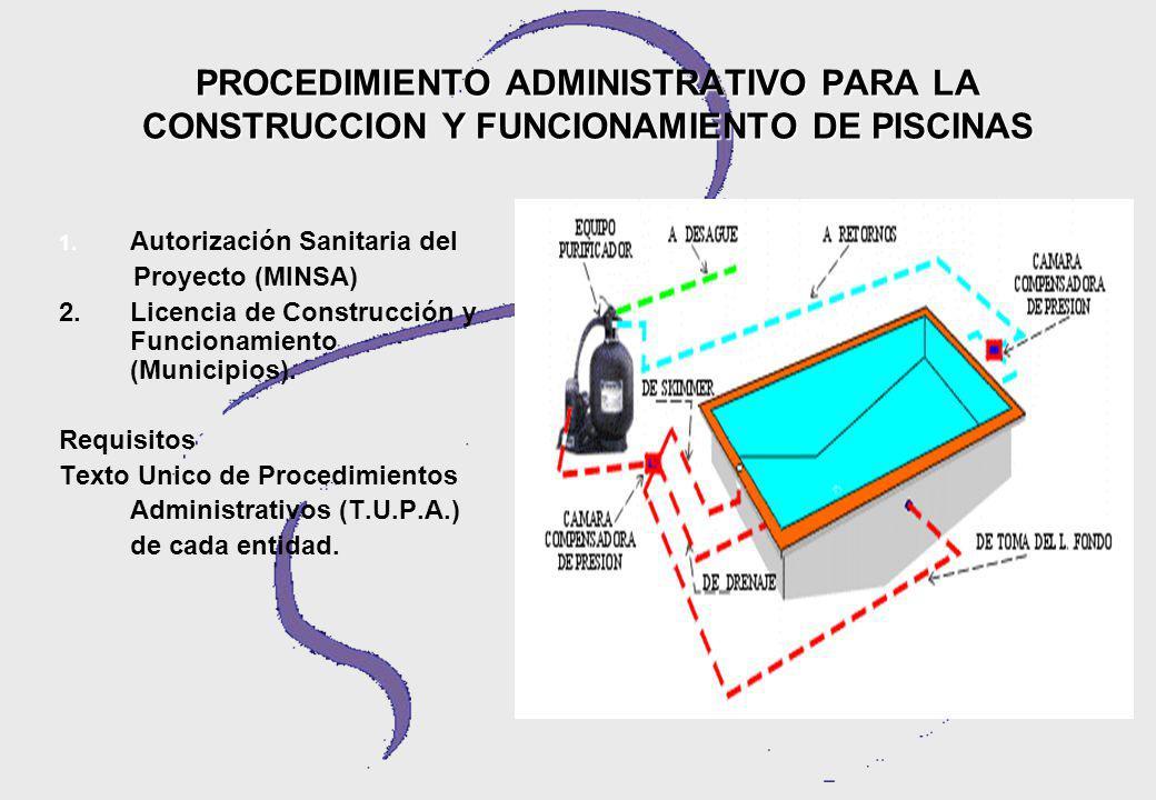 PROCEDIMIENTO ADMINISTRATIVO PARA LA CONSTRUCCION Y FUNCIONAMIENTO DE PISCINAS
