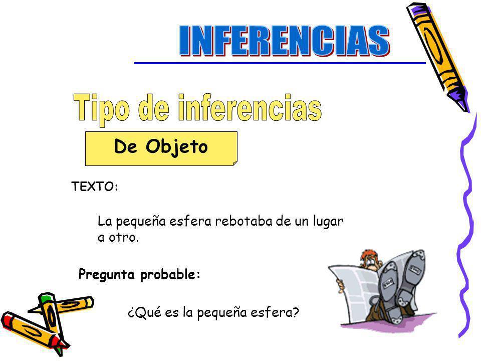 INFERENCIAS Tipo de inferencias De Objeto