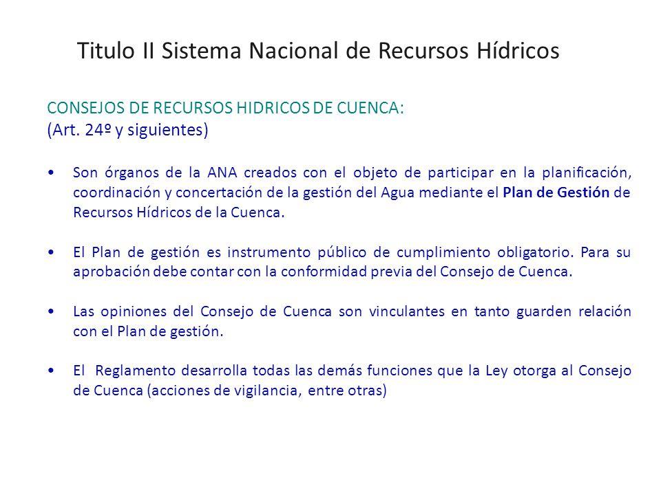 Titulo II Sistema Nacional de Recursos Hídricos