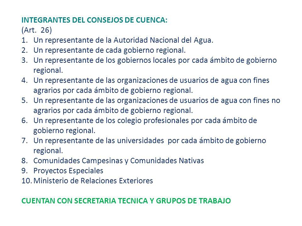 INTEGRANTES DEL CONSEJOS DE CUENCA: