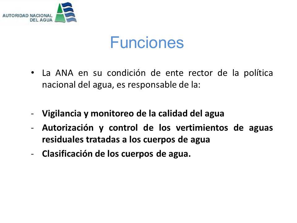 Funciones La ANA en su condición de ente rector de la política nacional del agua, es responsable de la: