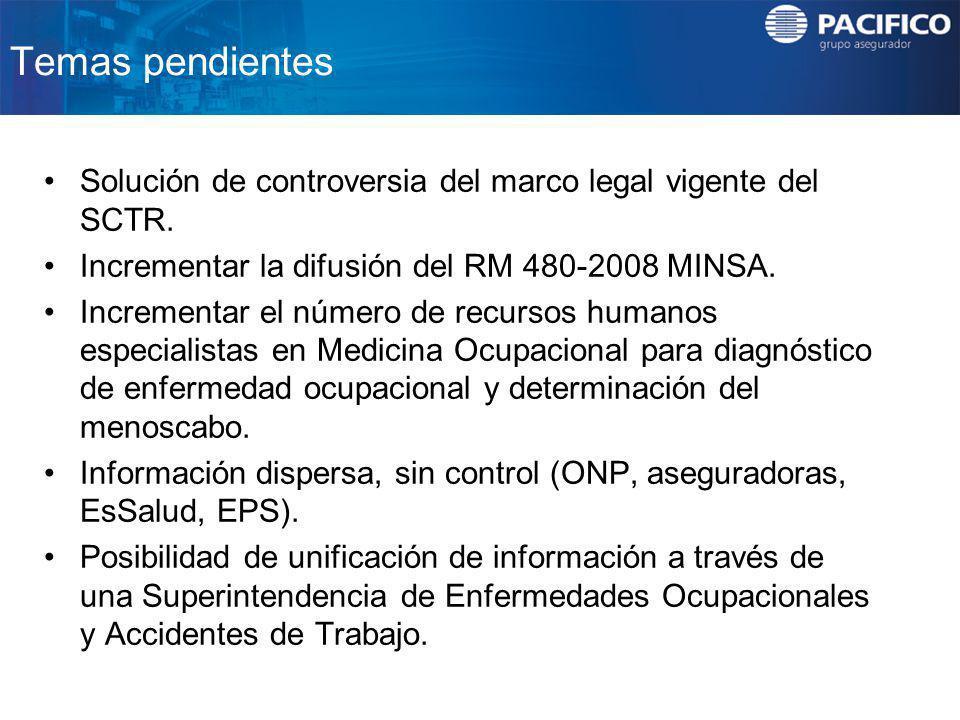 Temas pendientes Solución de controversia del marco legal vigente del SCTR. Incrementar la difusión del RM 480-2008 MINSA.