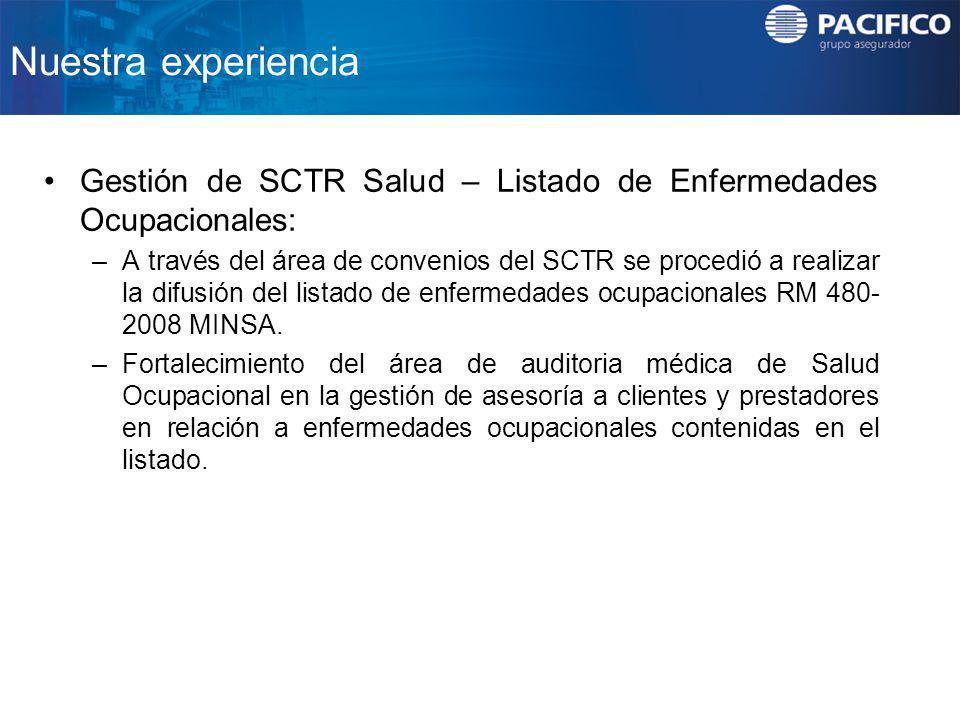 Nuestra experiencia Gestión de SCTR Salud – Listado de Enfermedades Ocupacionales: