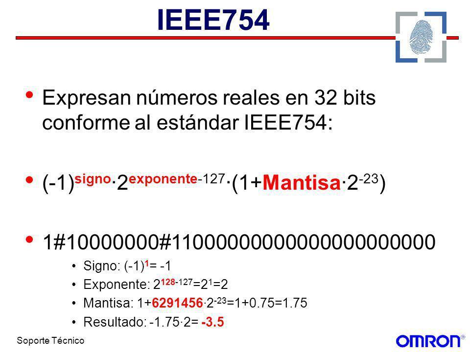 IEEE754 Expresan números reales en 32 bits conforme al estándar IEEE754: (-1)signo·2exponente-127·(1+Mantisa·2-23)