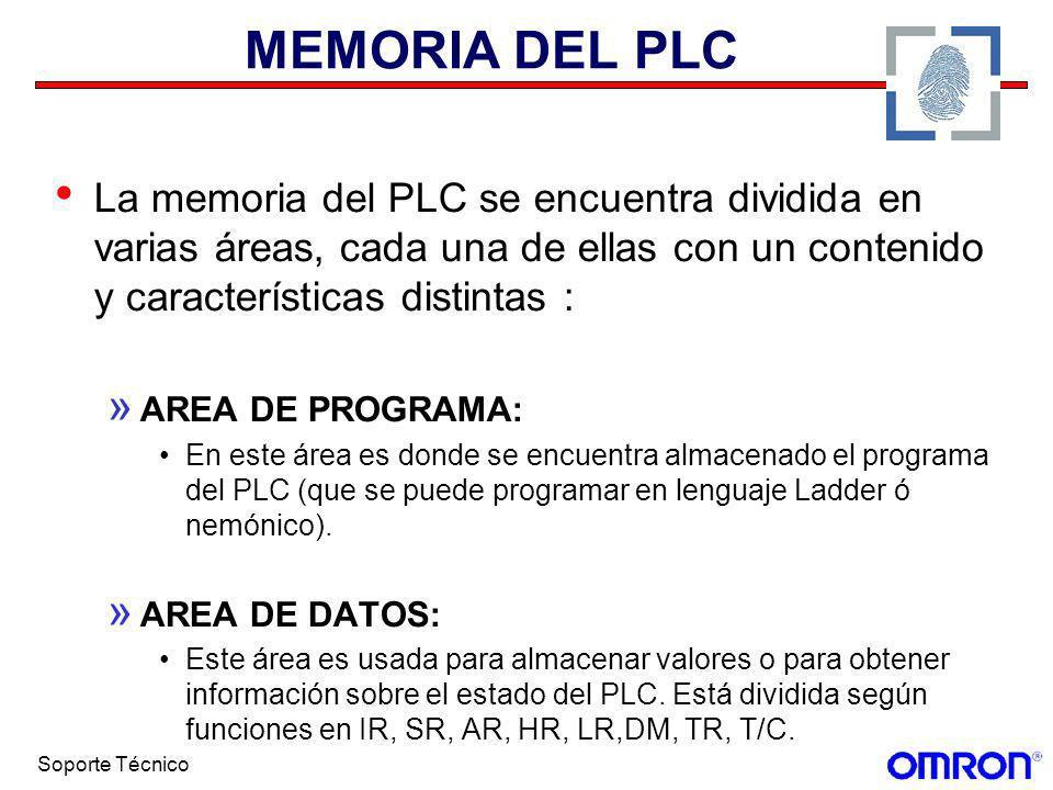 MEMORIA DEL PLC La memoria del PLC se encuentra dividida en varias áreas, cada una de ellas con un contenido y características distintas :