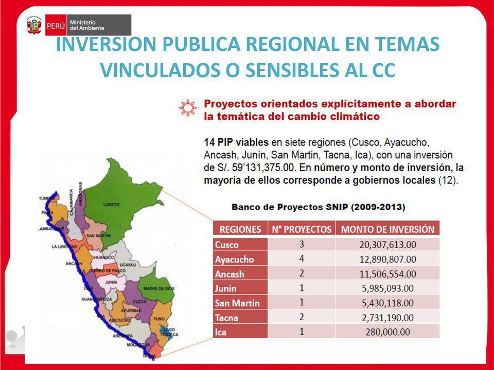 INVERSION PUBLICA REGIONAL EN TEMAS VINCULADOS O SENSIBLES AL CC