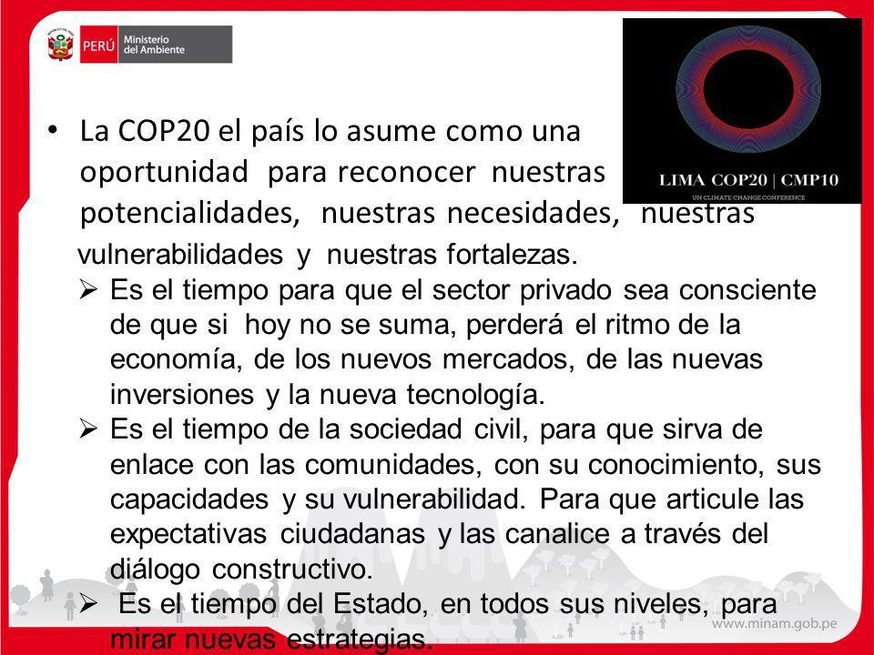 La COP20 el país lo asume como una oportunidad para reconocer nuestras potencialidades, nuestras necesidades, nuestras