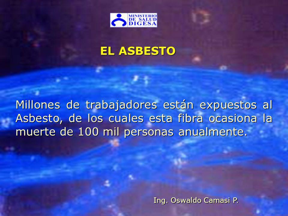 EL ASBESTO Millones de trabajadores están expuestos al Asbesto, de los cuales esta fibra ocasiona la muerte de 100 mil personas anualmente.