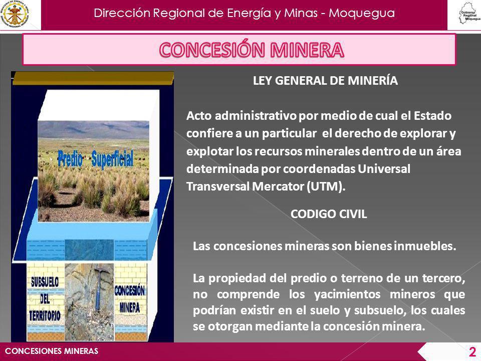 CONCESIÓN MINERA LEY GENERAL DE MINERÍA