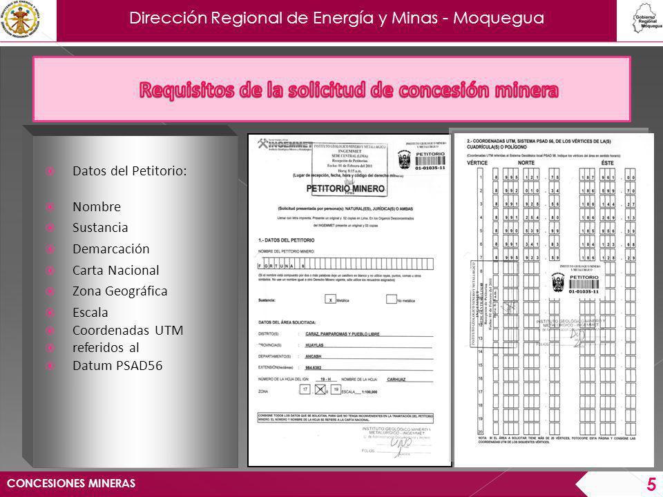 Requisitos de la solicitud de concesión minera
