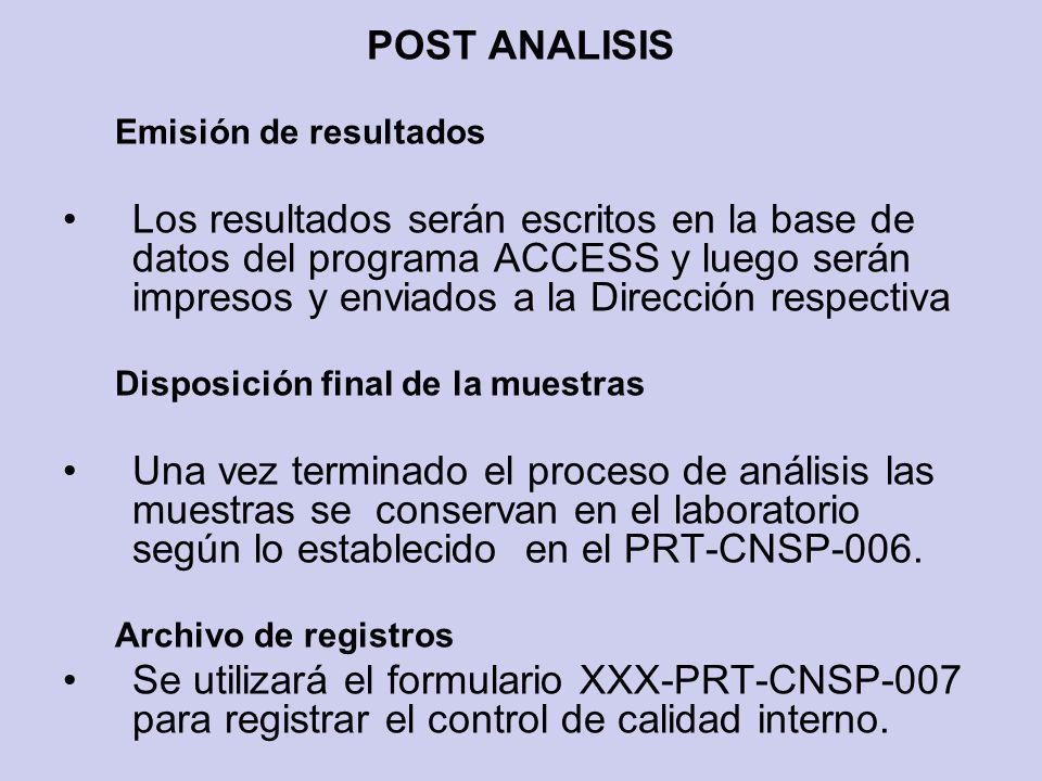 POST ANALISIS Emisión de resultados.