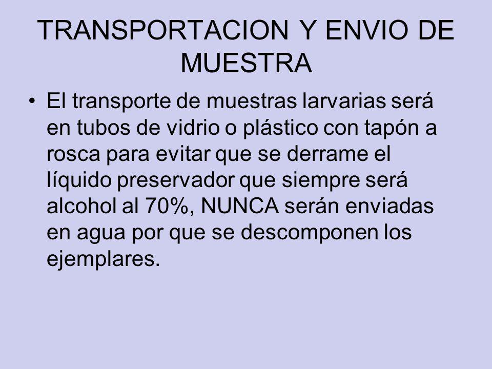 TRANSPORTACION Y ENVIO DE MUESTRA