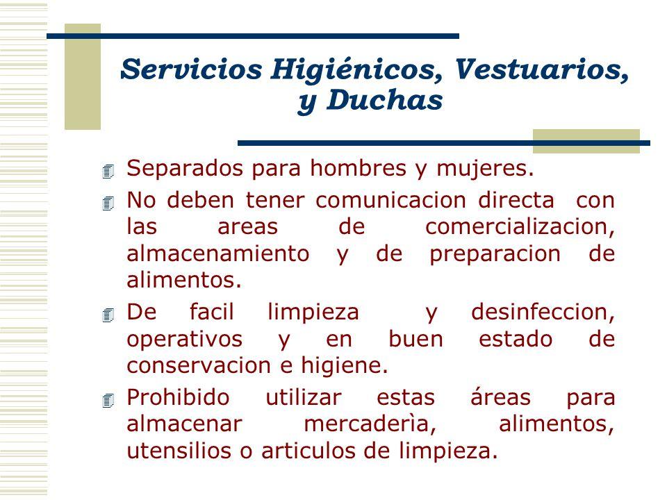 Servicios Higiénicos, Vestuarios, y Duchas