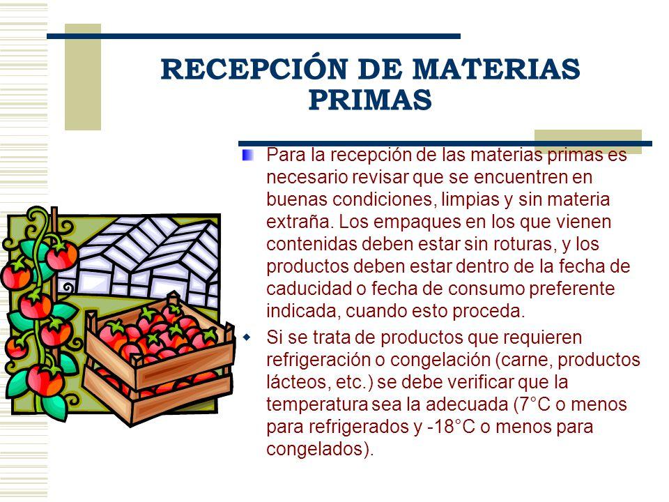 RECEPCIÓN DE MATERIAS PRIMAS