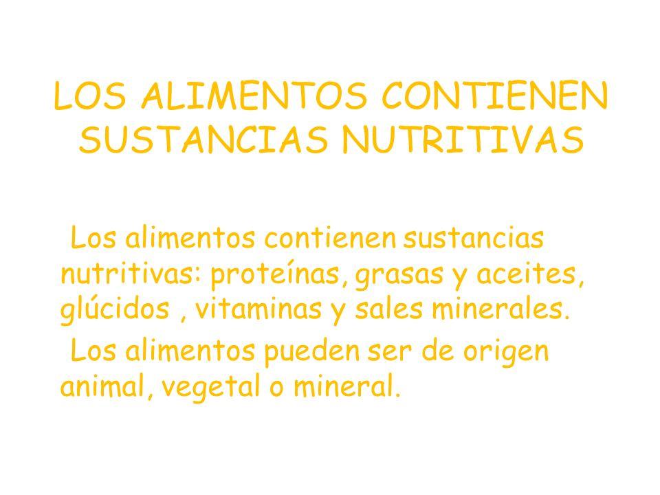 LOS ALIMENTOS CONTIENEN SUSTANCIAS NUTRITIVAS
