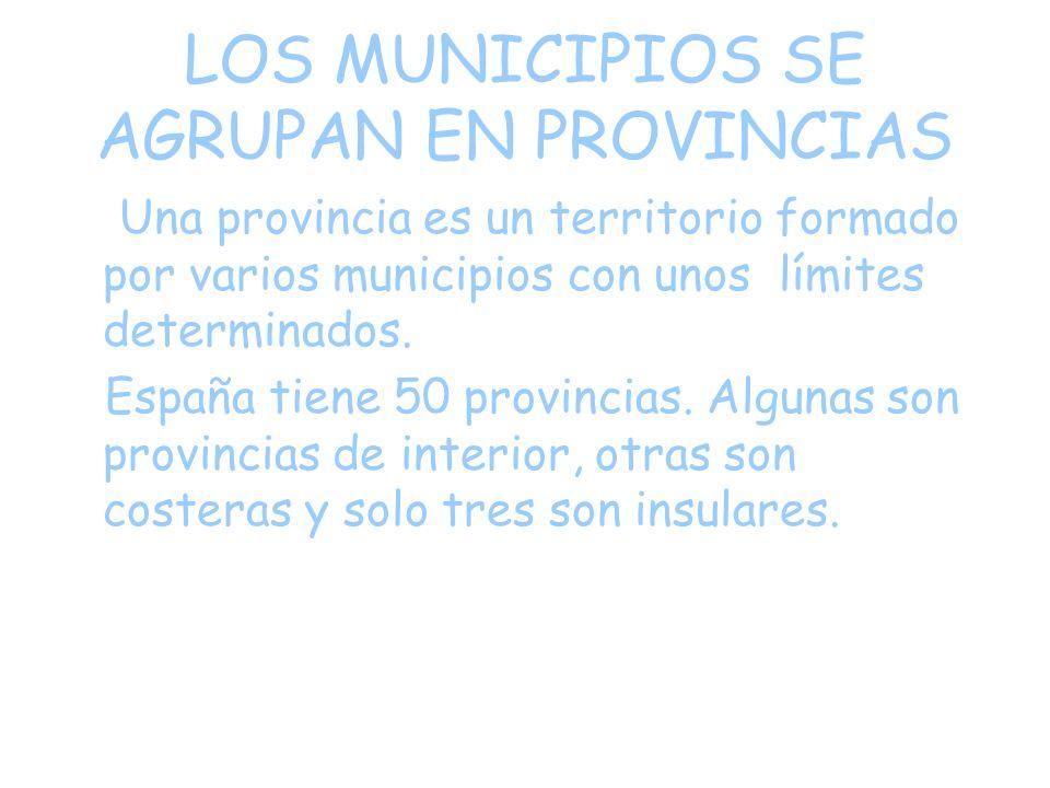 LOS MUNICIPIOS SE AGRUPAN EN PROVINCIAS